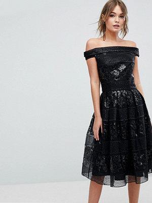 Chi Chi London Strapless Embellished Midi Skater Dress