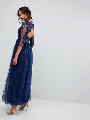 Chi Chi London Core High Neck Maxi With Cut Out Lace Back Detail