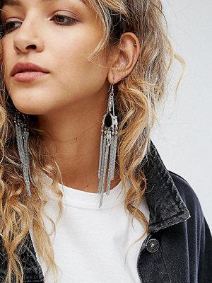 Reclaimed Vintage örhängen Inspired Chain Tassel Statement Earrings