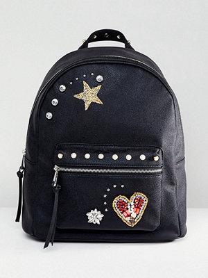 ASOS ryggsäck Embellished Badge Backpack