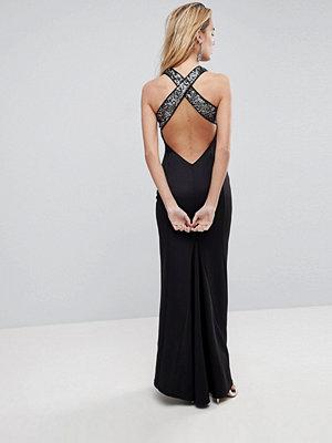 ASOS Sequin Bodice Strappy Back Fishtail Maxi Dress - Silver/black