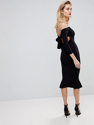 ASOS Bardot Bow Back Pephem Midi Dress