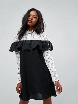 Club L Long Sleeve Crochet High Neck Detailed Dress - White/black bottom