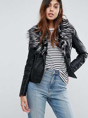 Brave Soul Betina Leather Look Jacket With Deep Faux Fur Collar