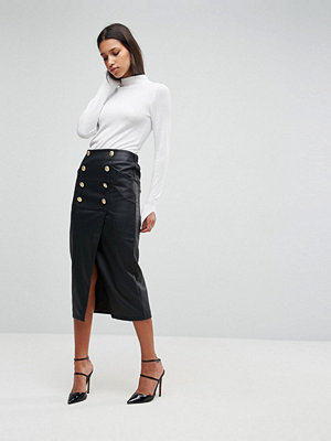 ASOS Leather Look Pencil Midaxi Skirt with Button Front Detail