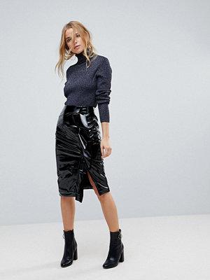 Miss Selfridge Gathered Vinyl Midi Skirt