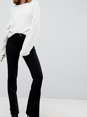 ASOS Petite Bell Flare Jeans In Clean Black With Pressed Crease