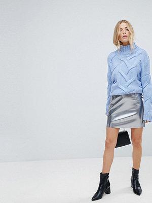 Only Leather Look Metallic Mini Skirt