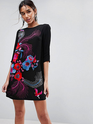 ASOS PREMIUM Bird and Floral Embroidered Shift Mini Dress