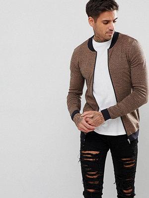 Tröjor & cardigans - ASOS Knitted Muscle Fit Bomber Jacket In Camel Twist