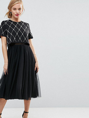ASOS Petite Embellished Crop Top Midi Tulle Prom