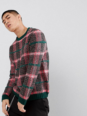 ASOS Fluffy Check Jumper In Pink And Green