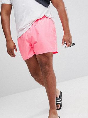 Badkläder - ASOS PLUS Swim Shorts In Bright Pink With Stripe Drawcord Short Length