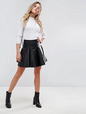 ASOS Leather Mini Flippy Skirt