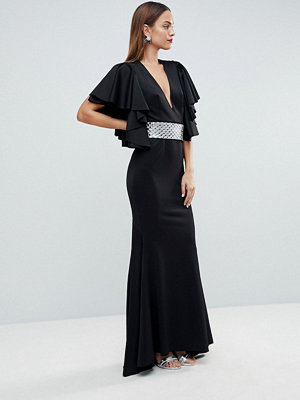 ASOS Edition Deep Plunge Scuba Ruffle Sleeve Maxi Dress with Detachable Belt