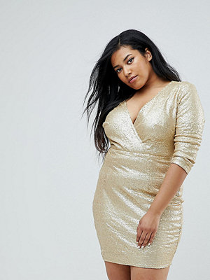 Club L Plus 3/4 Sleeve Wrap Front All Over Sequin Dress - Matte gold