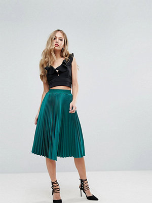 Outrageous Fortune Full Pleated Midi Skirt - Forest green