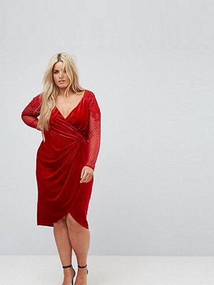 Little Mistress Plus Allover Velvet Wrap Midi Dress With Lace Applique Sleeve Detail