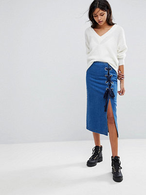 Gestuz Denim Skirt With Ring And Tie Detail