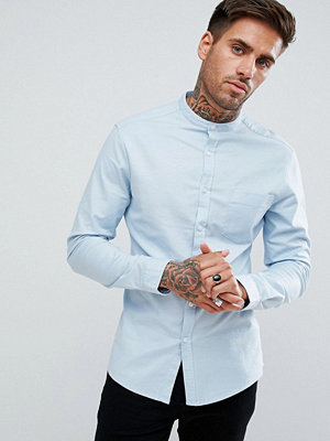 ASOS Casual Skinny Oxford In Blue With Grandad Collar