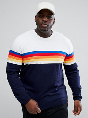 Tröjor & cardigans - ASOS PLUS Jumper With Multicoloured Stripes In Navy And White