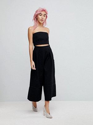 ASOS Denim Wide Leg Co-ord Culottes in Black