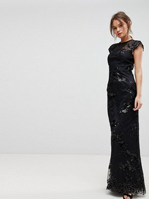 Chi Chi London High Neck Sequin Lace Maxi With Cap Sleeve