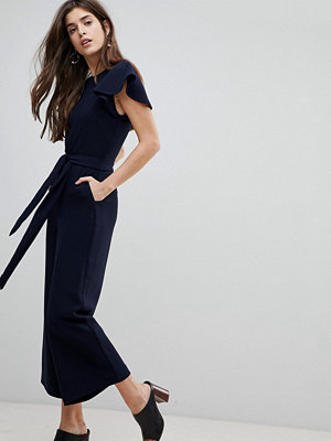 Warehouse Frill Sleeve Belted Jumpsuit