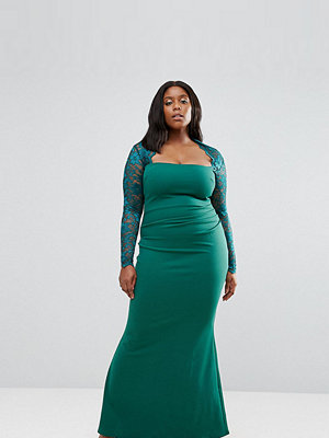 Goddiva Plus Maxi Dress With Lace Sleeves