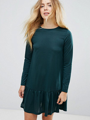 Brave Soul Moss Mini Dress With Peplum Hem