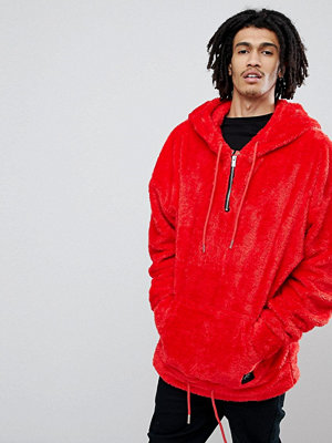 Sixth June Oversized Hoodie In Red Fluffy Borg