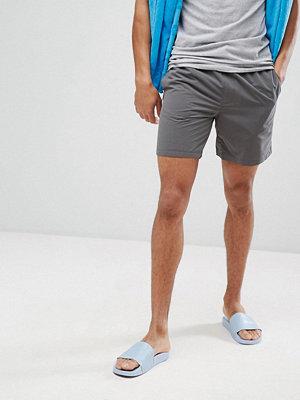 Badkläder - ASOS Swim Shorts In Dark Grey With Neon Yellow Drawcord