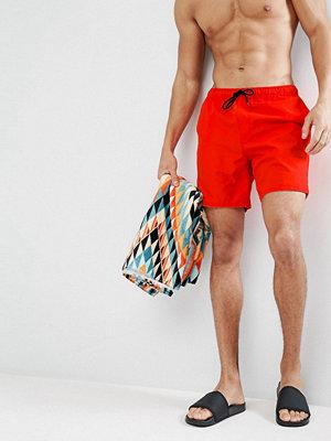 Badkläder - ASOS Swim Shorts In Red Mid Length