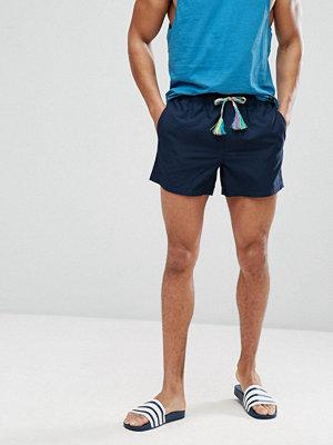 Badkläder - ASOS Swim Shorts In Navy With Multicoloured Drawcord In Short Length