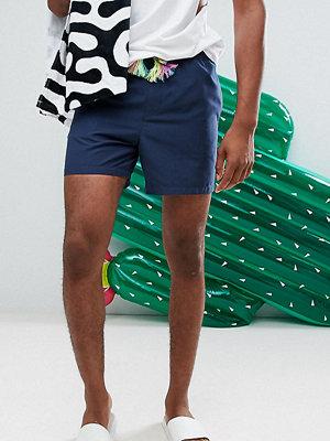Badkläder - ASOS TALL Swim Shorts In Navy With Multicoloured Drawcord In Short Length