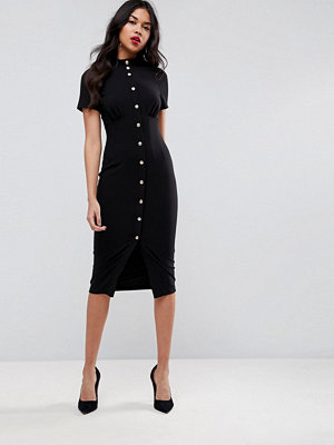 ASOS Corset Midi Dress with High Neck & Popper Details