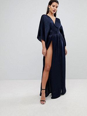 Flounce London Wrap Front Kimono Maxi Dress with Double Thigh Splits and Bodysuit