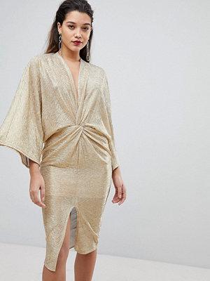 Flounce London Wrap Front Kimono Midi Dress in Gold