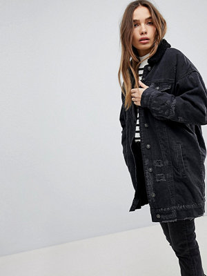 Pull&Bear Longline Fur Collar Denim Jacket