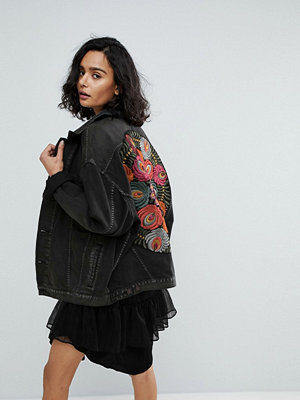 Free People Oversized Embroidered Back Denim Jacket