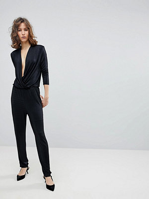 Selected Femme Wrap Slinky Jumpsuit
