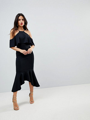ASOS Ruffle Cold Shoulder Asymmetric Pephem Midi Dress