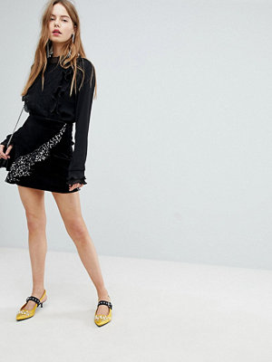 Bershka Velvet Asymmetric Ruffle Skirt