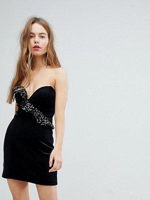 Bershka Velvet Shimmer Frill Asymmetric Dress