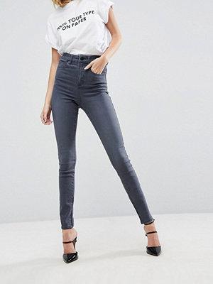 ASOS DESIGN SCULPT ME Premium Grå jeans med hög midja