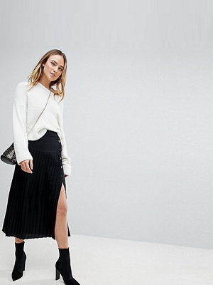 Asos Tall Pleated Midi Skirt with Side Button Detail