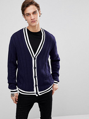 ASOS Ribbed Cardigan With Tipping