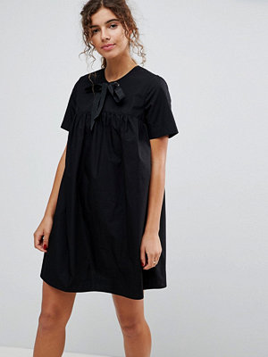 ASOS Smock Dress with Eyelet Detail and Grosgrain Tie
