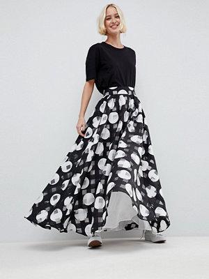 ASOS White Stripe And Spot Full Maxi Skirt