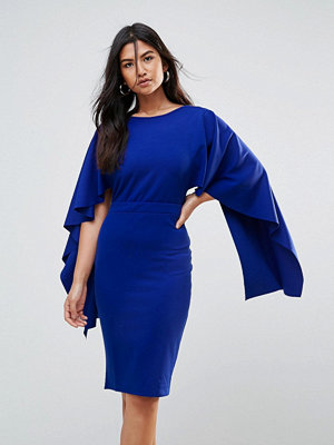 City Goddess Midi Dress With Ruffle Sleeve - Sapphire blue